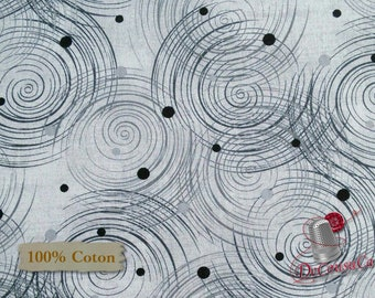 Whirlpool, black, white background, Henry Glass & Co, 2191, 100% Cotton, (Reg 2.99-17.99)