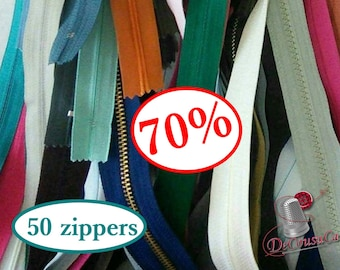 70%, 50 zippers, little and big, varied color, varied size,not detachable, invisible and detachable