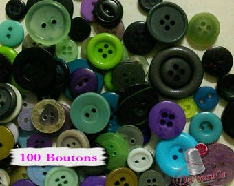100 random buttons basic, 10mm à 30mm, 2-4 holes, green, mauve, blue, navy, gray, black, various sizes, photo example, BA101