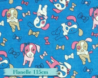 Dog, puppy, pink, beige, blue, Flannel 100% high quality cotton