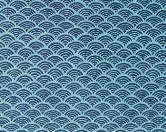 END OF BOLT, Volute, navy blue, blue background, Sakura, 16026, Sevenberry, cotton, cotton quilt, cotton designer, (Reg 3.76-21.91)
