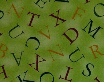 Alphabet, green, Quilting Treasures, multiple quantity cut in one piece, 100% Cotton