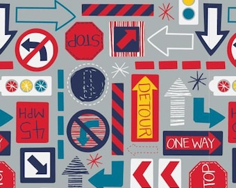 Traffic signs, 27190101, col 02, On the Move, Camelot Fabrics, cotton, cotton quilt, cotton designer