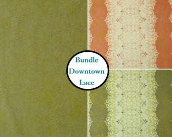 Kit 3 prints, Downtown Lace, by Sasha K Studio, EBI Fabrics, Bundle 3 fabrics , You will get 1 of each pattern