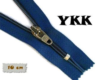 YKK, 10cm, Navy, Zipper, Cursor 45C, 4 Inch, Metal Slider, Zipper, Non-Detachable, vintage, 1980, Z04