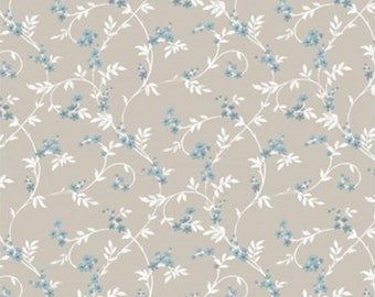 Swirly blossom, blue, beige, Wisteria, Laura Ashley, 71170702, col 03, Camelot Fabrics, 100% Cotton, (Reg 2.99-17.99)