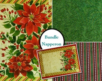 3 prints, Doily,to make 1 Poinsettia doilies, below, above, border, Windham Fabrics, 41691, Cotton,
