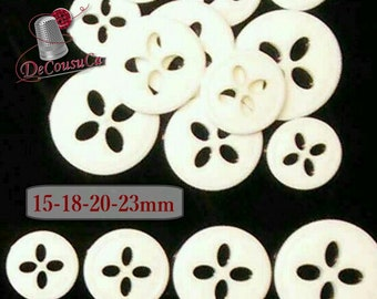 25 Buttons, White, 15mm, 18mm, 20mm, 23mm, 4 holes, vintage button, BA49-50-51-52