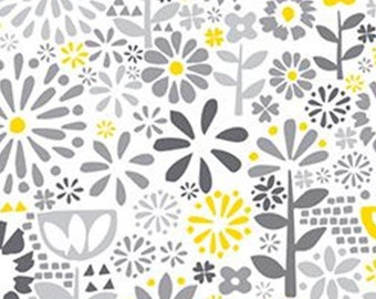 Flower, grey, yellow, white, Village Life, 30180102, Camelot Fabrics, 100% Cotton