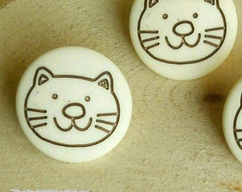 2 Buttons, 15mm, Cat, Natural, Casein, Lucite, Vintage, 1980s, Basic Button, Solid Button, GR04