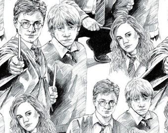 Harry Potter, Wizarding World, Line Art, 2380015, col 01, Camelot Fabrics, cotton, cotton quilt, cotton designer