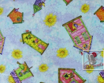Birdhouse Gardens, by Debi Hron, SPX Fabrics, fat quarter, half-yard, by the yard, 100% Cotton