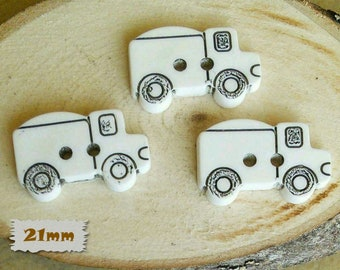 "3 Buttons, Truck, White, 7/8 "", 21mm, Fancy Button, BF16, Fancy Button, 1980, Vintage, Casein"
