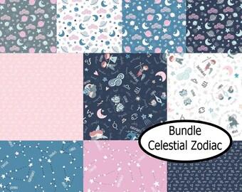 Bundle, 10 prints, Celestial Zodiac, Camelot Fabrics, 100% Cotton, quilt cotton