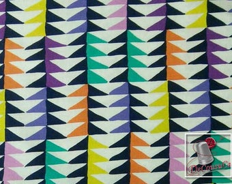 Triangles, navy, orange, yellow, teal, violet, white, Melodies, 6869, Michael Miller Fabrics