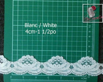 """5 yards, Scalloped Lace, White, 1 1/2 """"(4cm), polyester, vintage, (4.60 metres), DT24,"""