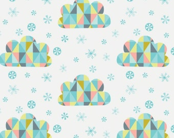 Triangle, clouds, white, 61170103, Oh What Fun, Camelot Fabrics, multiple quantity cut in one piece, 100% Cotton, (Reg 3.99 - 17.99)