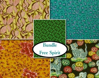 Bundle 5 prints, quilt cotton, Free Spirit