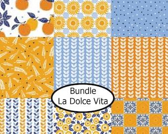 Bundle, 9 prints, La Dolce VIta, Camelot Fabrics, 100% Cotton, quilt cotton