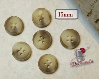 6 buttons, 15 mm, cream, beige, brown, 4 holes, BA230