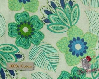 Blues flowers, Édition Fabric, multiple quantity cut in one piece, 100% Cotton