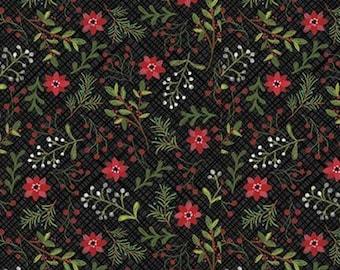 Snowed In, Riley Blake, Christmas fabric 100% cotton, poinsettia, #10812 BLACK