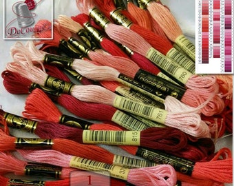 50%, Pink, Red, Wine, 10 Embroidery, thread, DMC, Mouliné 25, art 117 No. 25,