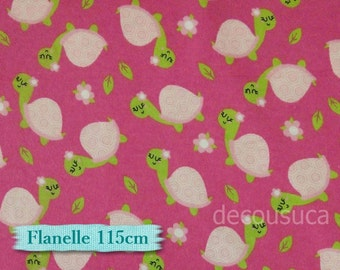 Flannel, Turtle, pink, fuschia, many yards will be cut as one continuous piece, Flannel 100% high quality cotton