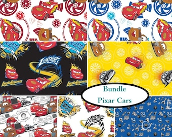 7 prints, 1 of each, Disney, Pixar, Cars, Camelot Fabrics, cotton