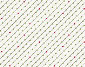 Fabric, Cotton, White, green, red, Winter Rose, 9424, Andover