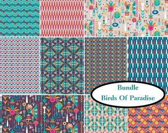 10 prints, Birds of Paradise, Camelot Fabrics, 100% Cotton, quilt cotton,bundle