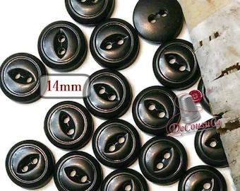 12 Buttons, 14mm, black, 2 holes, BA56