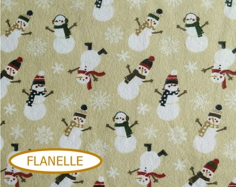 Flannel, Snowman, Let it snow, 7771, Riley Blake,multiple quantity cup in a pièce, Flannel 100% high quality cotton