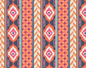 Amira, orange, violet, ivory, 27170102, Camelot Fabrics, 100% Cotton, (Reg 2.99-17.99)