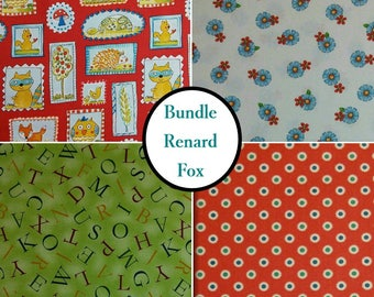 Kit 4 prints, Renard Fox, 100% coton, Windham Fabrics