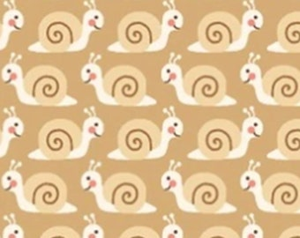 VENTE, Snail, Tan, Camp-a-Long, Studio E, 4007, multiple quantity cut in one piece, 100% Cotton