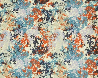Flower, blue, white, red, Édition Fabric, multiple quantity cut in one piece, 100% Cotton