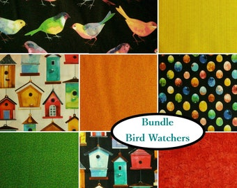Bundle, 8 FE, 8 FQ, 8 X 1/4 yard, 8 X 1/2 yard, 1 of each, Bird Watchers, 100% cotton