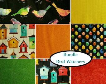 Bundle, 8 FE, 8 FQ, 8 X 1/4 yard, 8 X 1/2 yard, 8 X 1 yard , 1 of each, Bird Watchers, 100% cotton