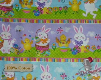 Rabbit, Duck, Eggs, Easter, Spring has Sprung, Studio E, 3906, multiple quantity cut in one piece, 100% Cotton