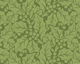 Fabric, Cotton, Leaves, green, Winter Rose, 9423, Andover