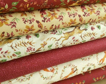 Bundle, 6 designs, Fox, cop, hare, leaf, Fables, Laura Ashley, Camelot Fabrics, 1 of each design