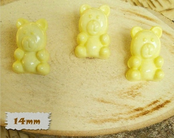 3 Buttons, Bear, YELLOW, 14mm, Polyester, Casein, Vintage, 1980, Fancy Button, Solid Button, BF52