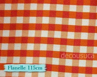 Flannel, Buffalo, plaid, white and orange, many yards will be cut as one continuous piece, Flannel 100% high quality cotton