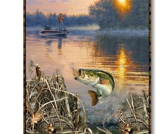 "Fisherman, fish,, 36""X44"", (90cmX115cm), 9939, Sykel Enreprises, Realtree, Multiple quantity cut in one piece, 100% Cotton, (Reg 15.96)"