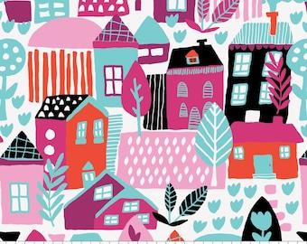 Neighbourhood in White, 31170101, col 01, Neighbourhood, Camelot Fabrics, 100% Cotton