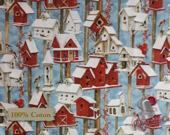 Bird House, Sheltering Snowman, by Barb Tourtillotte, Henry Glass & Co, multiple quantity cut in one piece, 100% Cotton