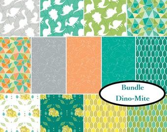 Bundle, 13 prints, 1 of each, Dino Mite, Camelot Fabrics, 100% cotton, quilt cotton