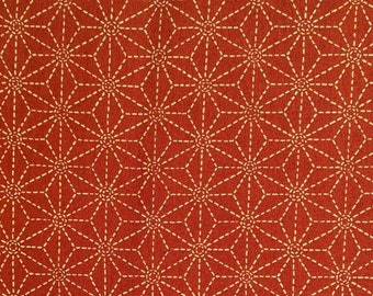 Star, beige, dark orange background, Sakura, 16027, Sevenberry, cotton, cotton quilt, cotton designer