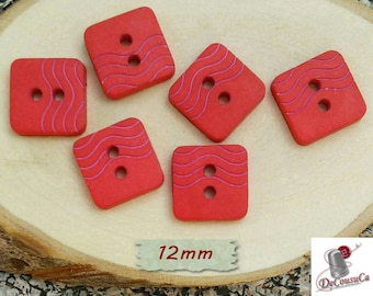 6 Buttons, 12mm, red, square, caséine, GR07, (Reg 3.60)